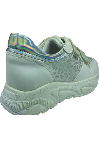 Fikretbebe Filet Kız Çocuk Günlük Spor Ayakkabı Beyaz Leopar Desen Cırtlı Anatomik