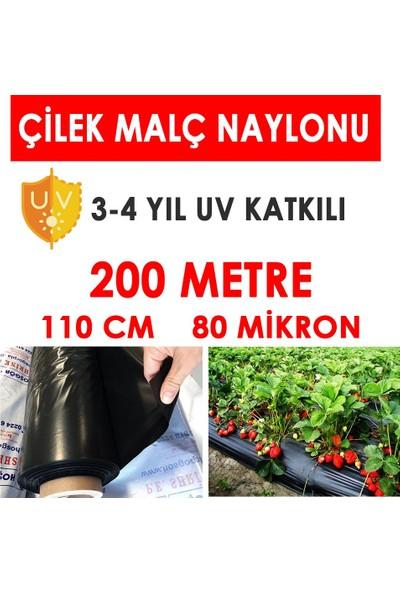 Malç Naylonu Çilek Naylonu 110CM x 200 Metre (Siyah 80 Mikron)