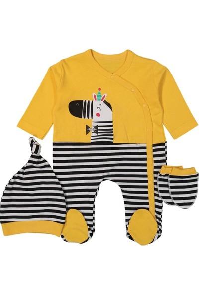 Tox (3 Parça) Zebra Baskılı Sarı Bebek Tulum (0,3 Ay)