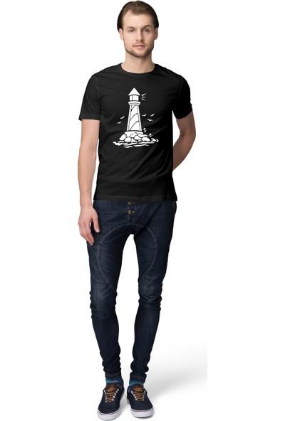 Grif Deniz Feneri Baskılı Erkek T-Shirt