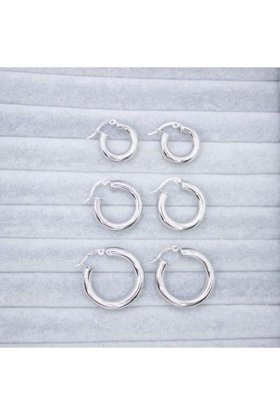 D'amore Atelier Gümüş Kaplama 3 Boy Kalın Halka Küpe Set