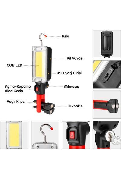 Triline Taşınabilir Cob LED Çalışma Lambası Kamp Feneri Aydınlatma
