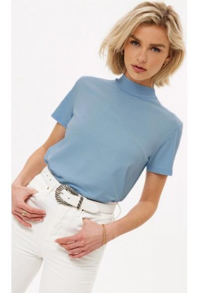 Madmext Mad Girls Mavi Balıkçı Tişört MG1066