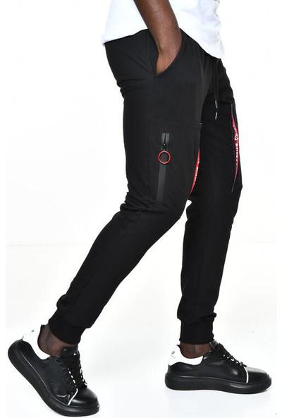 David&Gerenzo Siyah Cep Detay Ribana Paça Eşofman Altı