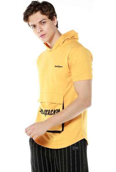 David&Gerenzo Safran Nakışlı Cep Detaylı Kapüşonlu T-Shirt