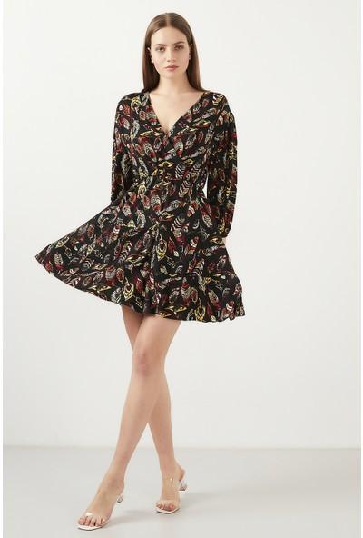 Lela Baskılı Kruvaze Yaka Mini Elbise Kadın Elbise 5203176