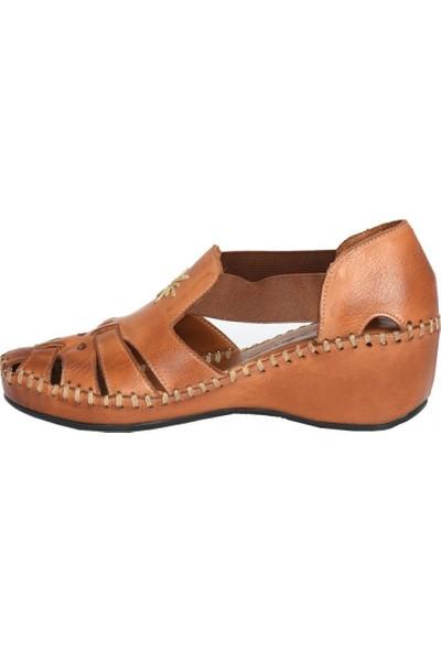 Venüs 18793056 Dolgu Topuk Kafesli Deri Kadın Ayakkabı