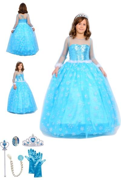 Butik Happy Kids Butikhappykids Frozen Elsa Kostümü Uzun Kollu Kasnaklı 6 Lı Set