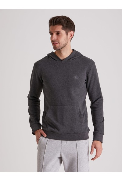 Dufy Antrasit Düz Kapüşonlu Erkek Sweatshirt