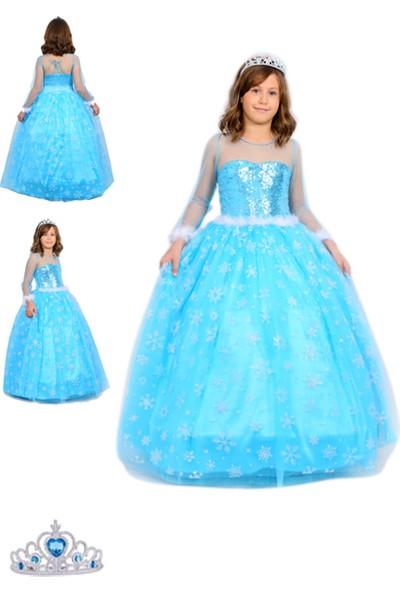 Butik Happy Kids Butikhappykids Frozen Elsa Kostümü Uzun Kollu Kasnaklı Elbise Taç