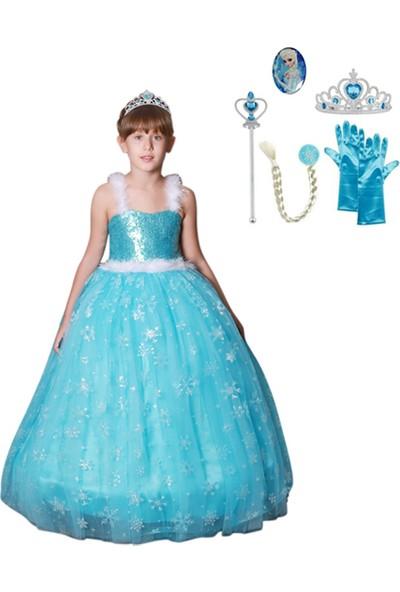 Butik Happy Kids Butikhappykids Frozen Elsa Kostümü Askılı Kasnaklı Kabarık Kostüm 6 Lı Set