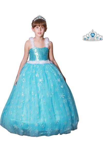 Butik Happy Kids Butikhappykids Frozen Elsa Kostümü Askılı Kasnaklı Kabarık Elbise Taç li