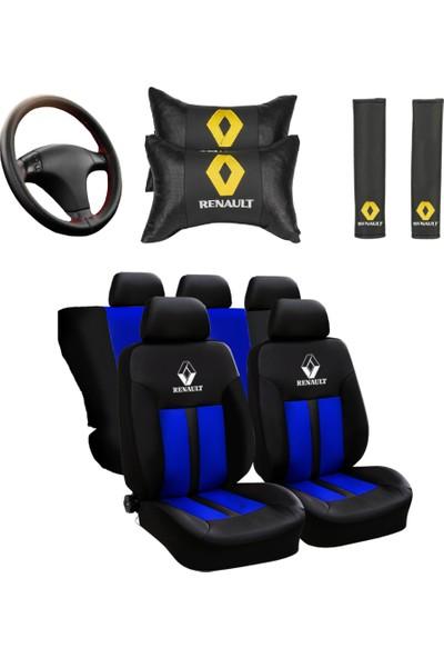 Hep Garaj Renault Logolu Renault Clio Ön Arka Oto Koltuk Kılıfı Seti Mavi
