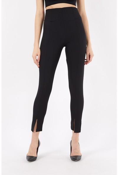 4 Sisters Fashion Paçası Yırtmaçlı Toparlayıcı Kalem Siyah Pantolon