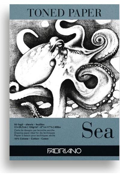 Fabriano Toned Paper Çizim Blok A4 120 gr 50 Yaprak - Sea
