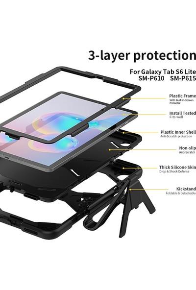 "Wowlett Samsung Galaxy Tab S6 Lite 10.4"" P610 P615 P617 Kılıf Full Protection Zırh Standlı Kılıf Siyah"