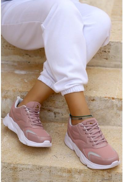Woggo Lgr 3210 Günlük Air File Bağcıklı Kadın Spor Ayakkabı Gül Kurusu - Beyaz