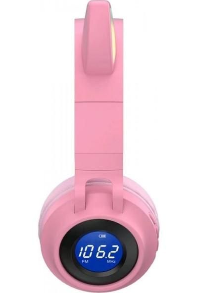 Wowlett Kablosuz Kulaküstü Mikrofonlu Bluetooth 5.0 LED Işıklı Göstergeli Fm Radyolu Kedili Kulaklık