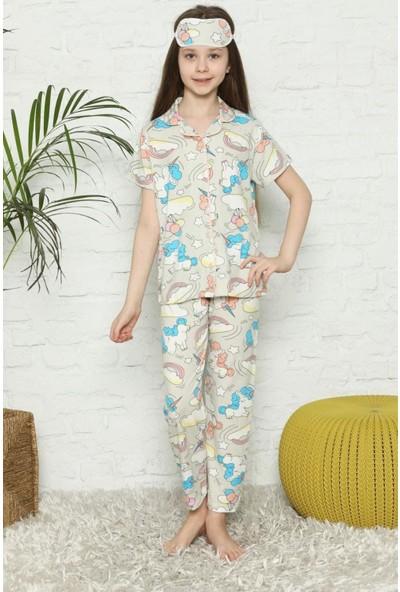 Life For Moda Pija Kids Kız Çocuk Unicorn Dijital Baskılı Önden Düğmeli Pijama Takımı