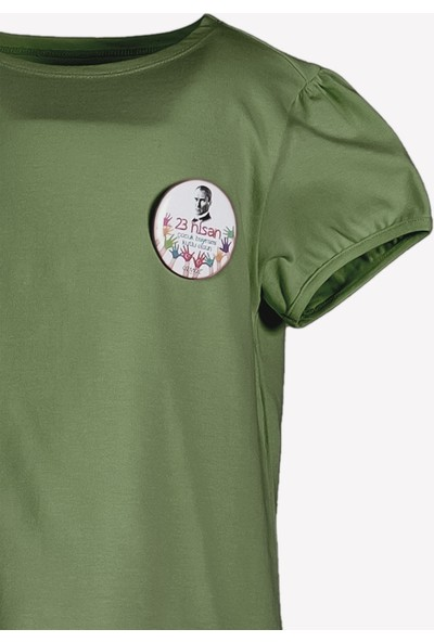 Ozmoz 23 Nisan'a Özel Kız Çocuk Organik Haki Tshirt