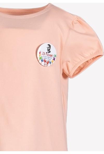 Ozmoz 23 Nisan'a Özel Kız Çocuk Organik Pembe Tshirt
