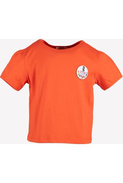 Ozmoz 23 Nisan'a Özel Kız Çocuk Organik Turuncu Tshirt