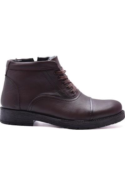 Ayakkabiburada 303 Kürklü Hakiki Deri Erkek Bot Ayakkabı