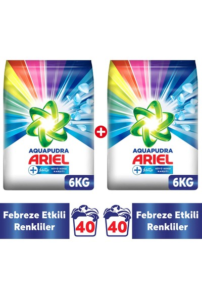 Ariel Febreze Etkili Renkliler Özel 12 kg Aqua Pudra Toz Çamaşır Deterjanı 6 kg x 2