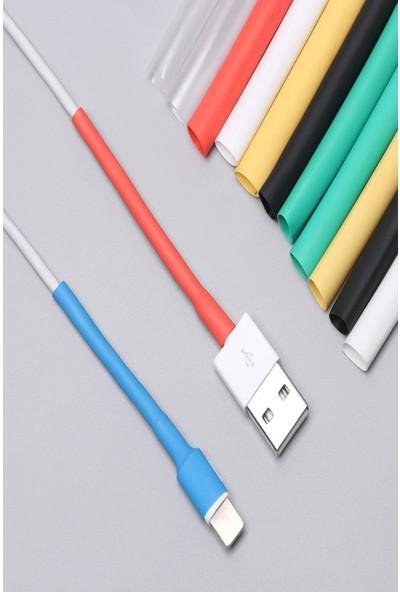 Apple Iphone Şarj Kablosu Koruyucu Isıyla Daralan 12 Adet 6,4 mm Karışık Renk Makaron Kablo Kılıf