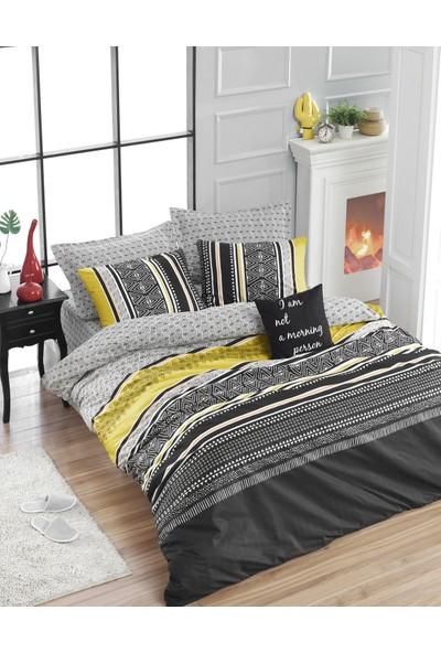 Enlora Home Formas Sarı & Siyah Doğal Pamuk Çift Kişilik Nevresim Seti