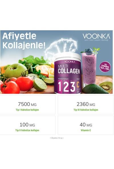 Voonka Hidrolize Kollajen (Tip I, Iı , Iıı) ve Vitamin C Içeren Takviye Edici Gıda 300 gr X2 Adet