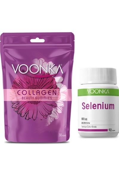 Voonka Collagen Beauty Gummies 30 Çiğnenebilir Tablet+ Selenium Takviyesi 100 Mcg 92 Tablet