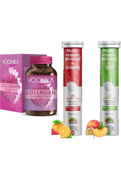 Hyaluronic Acid Kolajen 32TABLET+SUNLIFE Multivitamin&mineral+Ginseng 20 Tablet+Koenzim Q10 20TABLET