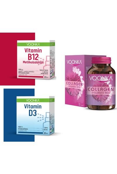Collagen Hyaluronic Acid Kolajen 32 Tablet + Vi̇tami̇n B12 Meti̇lkobalami̇n 20 Ml+Vitamin D3 20 ml