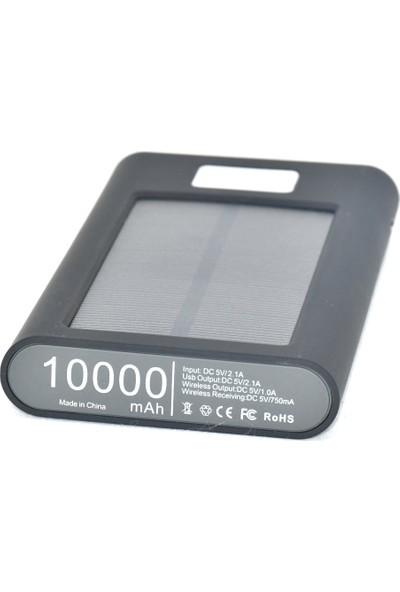 Blue İnter Qi 10000 mAh Kablosuz +Solar + Elektrikle Doldurabilen Powerbank