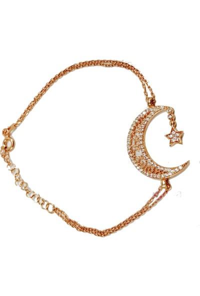Pigado 925 Ayar Gümüş Ay ve Yıldız Zirkon Taşlı Bileklik