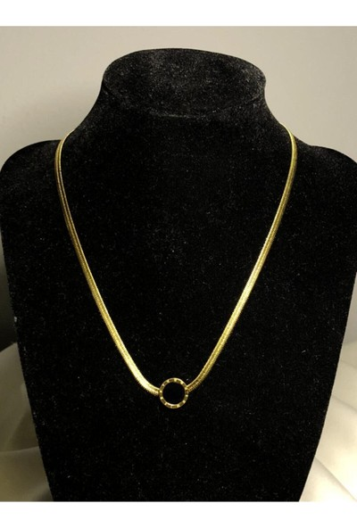 Çetinkaya Gold Romen Rakamlı Siyah Taşlı Italyan Zincir Çelik Kolye