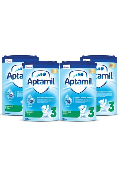Aptamil 3 Devam Sütü 800 gr 9-12 Ay Akıllı Kutu x 4 Adet