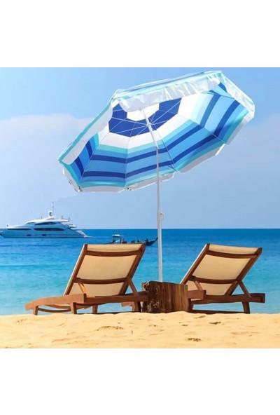 Depolife Plaj Şemsiyesi Eğilebilir Deniz Bahçe Balkon Piknik Kamp Güneş Şemsiyesi Katlanır Mavi Beyaz
