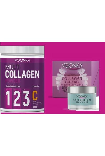 Collagen Beauty Blue Hyaluronıc Acıd Cream+Tip 1 Tip 2 ve Tip 3 Hidrolize Kolajen Içeren Takviye Gıda 300 gr