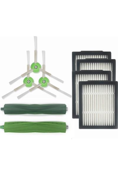 Lin Grup Irobot Roomba E5 ve I7 Serisi 4 Adet Hepa Filtre,3 Adet Yan Fırça,1 Set (2 Adet)Ana Fırça