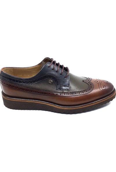 Fosco 1106 Taba Gri Lacivert Bağcıklı Baskılı Deri Ön Saya Çiftyüz Eva Taban Hafif Rahat Comfort Günlük Erkek Ayakkabı