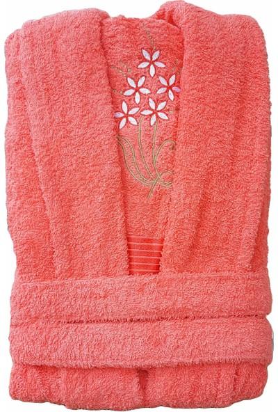 Elmira Textile Elmira Erkek/kadın Havlulu Banyo Bornozu Pamuklu Bay Bayan Bornoz L/xl Narçiçeği