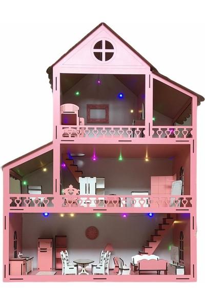 Ahşap Çocuk Oyun Evi LED Işıklı 80CM 36 Eşya Pembe