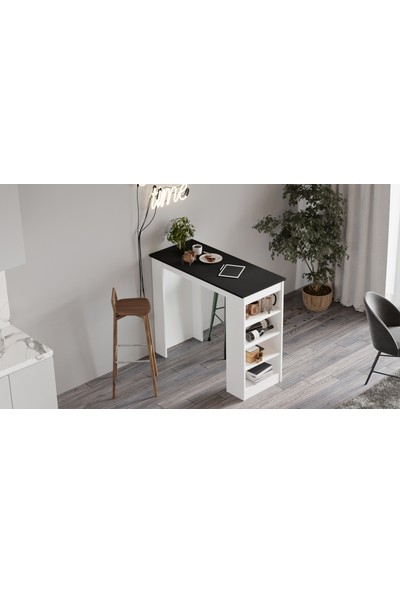 Yurudesign Style Bar Masası Mutfak Yemek Masası Siyah-Beyaz St1-Lw