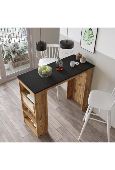 Yurudesign Style Bar Masası Mutfak Yemek Masası Siyah-Atlantik Çam St1-La