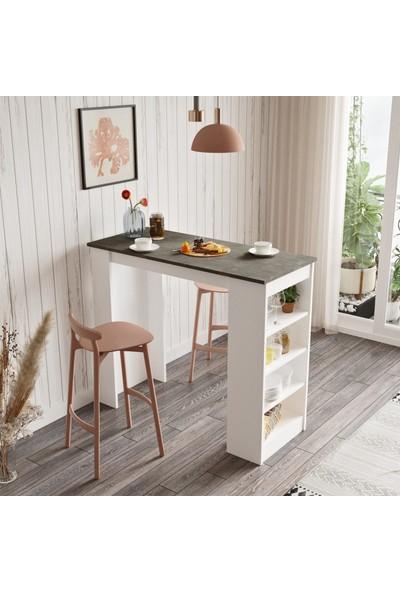 Yurudesign Style Bar Masası Mutfak Yemek Masası Beton-Beyaz St1-Gw