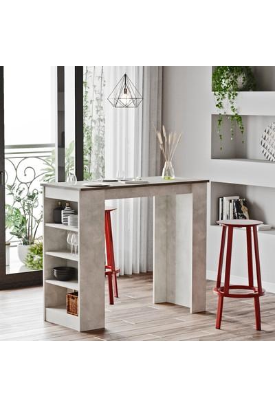 Yurudesign Style Bar Masası Mutfak Yemek Masası Beton-Taş St1-Gt