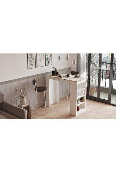 Yurudesign Style Bar Masası Mutfak Yemek Masası Mermer-Beyaz St1-Ew