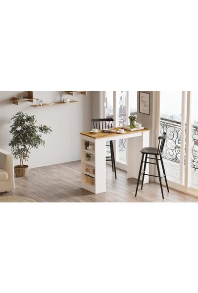 Yurudesign Style Bar Masası Mutfak Yemek Masası Atlantik Çam-Beyaz St1-Aw
